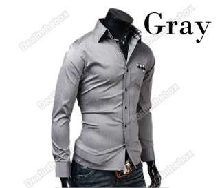 New Fashion Mens Luxury Stylish Casual Slim Plaid Long Sleeve Shirts