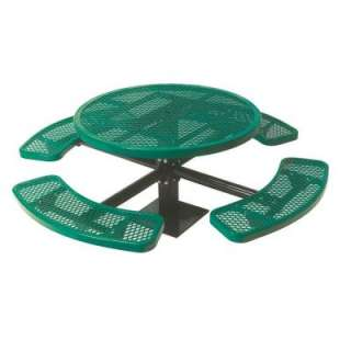 Play Commercial Park 46 in.Round Table  Surface Mount, Diamond, Green
