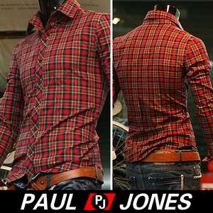 Mens Casual Plaid longs leeve shirts button front 4size Cheap