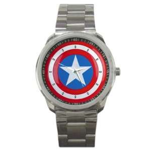 Captain America Shield Stainless Steel Watch Great Gift