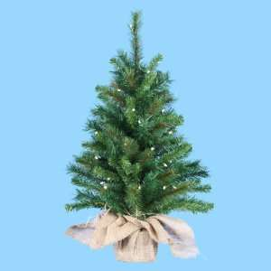 2.5 Pre Lit Artificial Pine Christmas Tree in Burlap Bag