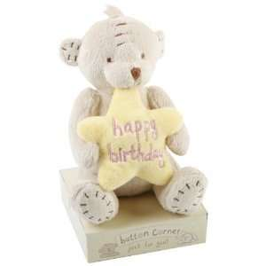 Corner   7 Plush Bear Holding a Yellow Star Saying Happy Birthday