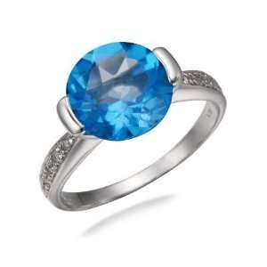 10MM Round Natural Swiss Blue Topaz Ring In Sterling Silver 3.50 CT In