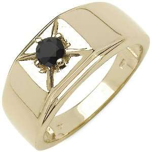 25 Carat 14K Yellow Gold Plated Sterling Silver Genuine Black Diamond