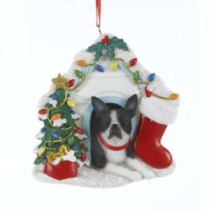 of 6 Boston Terrier Dog Christmas Ornaments for Personalization 3.75