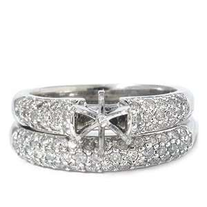 90 Ct Pave Round Diamond Engagement Wedding Ring Semi Mount Setting