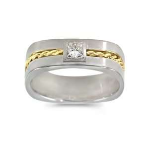 Diamond Ring   Mens 18k Gold Two Tone, Braided Square Diamond Ring