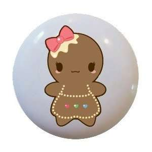 Cute GingerBread Girl Ceramic Knobs Pulls Kitchen Drawer Cabinet