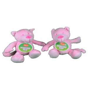 Lot of 2 Hartz Precious Pals Plush Pink Bears Dog Toy With