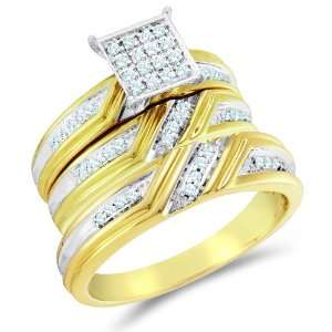 Size 7   10K Two Tone Gold Diamond Mens and Ladies Couple His & Hers