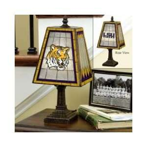 STATE LSU FIGHTIN TIGERS Team Logo Hand Painted ART GLASS TABLE