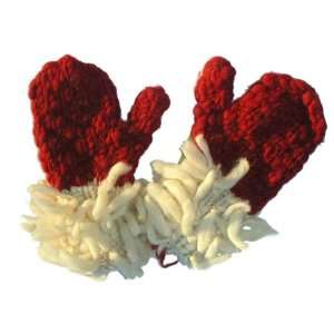 100% Wool Red Mittens Warm and Fuzzy Mittens [Red]  Fair