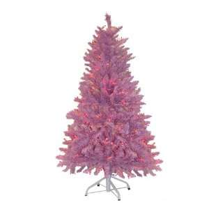 4.5 Pre Lit Pink Mauve Artificial Christmas Tree   Pink