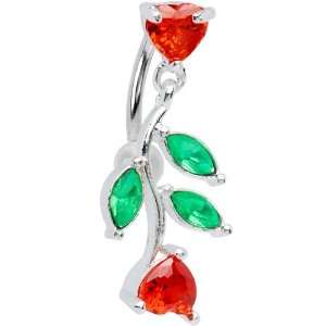 Red Gem Top Mount Ivy Heart Drop Belly Ring Jewelry