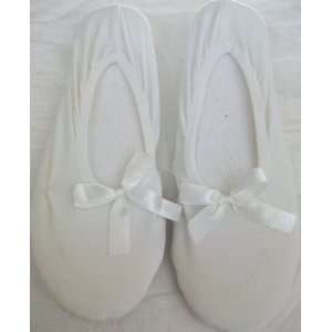 Small 5 6. White Soft Ballerina, Bedroom Slippers