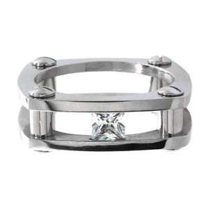 Jewelry 316L Stainless Steel Tension Set Cubic Zirconia Ring Jewelry
