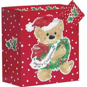 Gift Bag Christmas Teddy Bear with Wreath