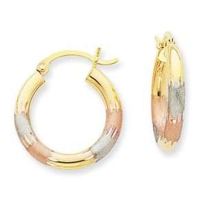 14k Gold Tri color 3mm Diamond cut Earrings Jewelry