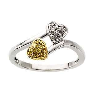 Yellow Gold Diamond Heart Ring Bypass Style GEMaffair Jewelry
