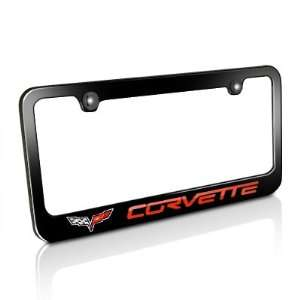 Chevrolet Red Corvette C6 Black Metal License Plate Frame