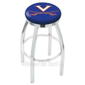 Virginia Cavaliers Logo Chrome Swivel Bar Stool Base with Flat Accent