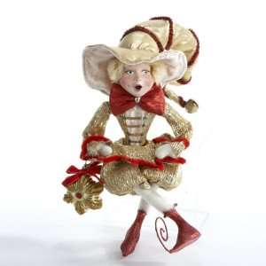 20 Red and Gold Fabric Pixie with Star Ornament Christmas