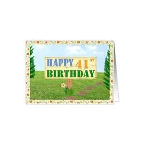Happy 41st Birthday Sign on Footpath Card Toys & Games
