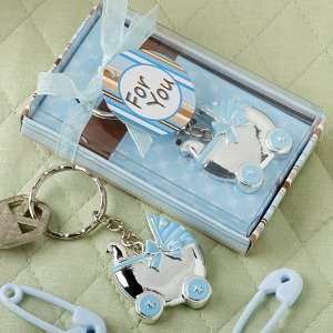 Blue baby carriage design key chains Health & Personal