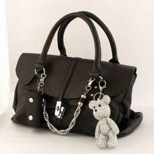 LARGE TEDDY BEAR RHINESTONE FASHION KEYCHAIN ACCESSORY