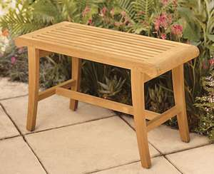 Grade A Teak Wood Occasional Bench Stool Shower Spa Bath Outdoor