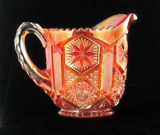 IMPERIAL RADIUM LUSTRE STAR & FILE MARIGOLD CARNIVAL GLASS PITCHER