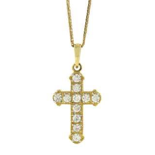 14K YELLOW GOLD DIAMOND CROSS PENDANT NECKLACE 0.80 CT