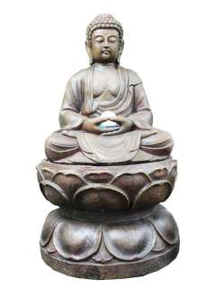 Buddha with Lotus Base color LED Indoor / Outdoor Water Fountain
