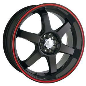17x7 Akita AK 55 (455) (Black w/ Red Wing) Wheels/Rims 5x100/114.3